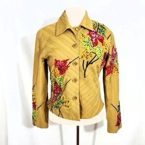Anage Tan Beaded Leaf Fitted Blazer Jacket